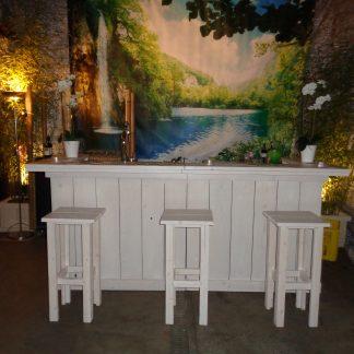 Foto van Steigerhouten bar ombouw (white wash)