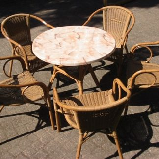 Foto van Rotan zithoek tafel met 6 stoelen excl. kussens