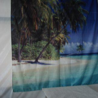 Foto van Deurgordijn met palmen en strand