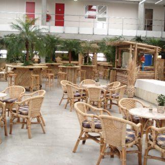 Foto van Rotan zithoek tafel met 6 stoelen incl. kussens